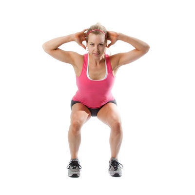 Bend knees and push hips back. Your knees should line up with toes and hips. Push with legs back to standing.