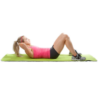 Lift off the floor by moving shoulders upward. Exhale through your mouth and lower back down slowly.