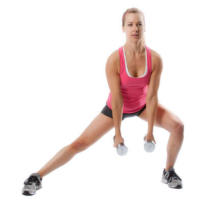 Lateral Lunges with Hammer Curls