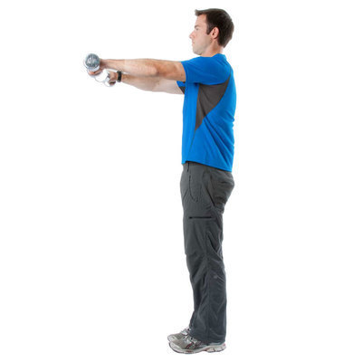Raise dumbbells forward and upward with until upper arms are above horizontal. Lower and repeat.